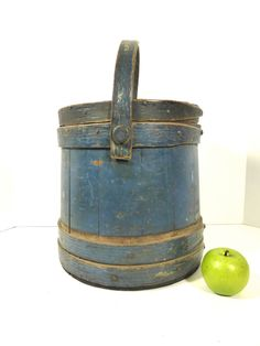 19th Century Firkin Sugar Bucket in Original Soldier Blue Paint       Sold  Ebay   330.00