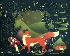 Fox in a lovely woodland!