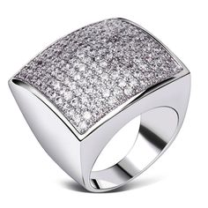 Square Designs Women Wedding Rings Rhodium or Gold-color Synthetic Cubic Zircon Environmental Friendly Lead Free SJ14371