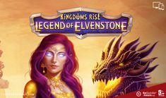 Kingdoms Rise Legend of Elvenstone Slot Fire Breathing Dragon, Game Info, Dragon Eye, Blue Square, Warrior Princess, Gemstone Colors, The Rock, Slot, Group
