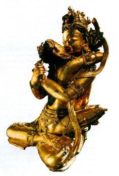 The Supreme Buddha sits in yab-yum with the Supreme Wisdom