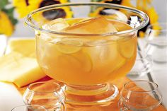 Fish House Punch-10 servings recipe.  Freeze ice in a bundt pan, include lemon slices and/or brandied peaches or ?