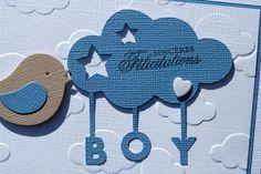 Carte de naissance garçon avec oiseau dans les nuages - L2MG - La Boutique
