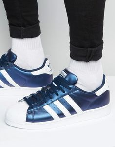 adidas Originals Superstar Trainers In Blue S75875 5082e77bb