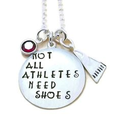 """""""Not All Athletes Need Shoes"""" Charm Necklace or Key Chain or Swim Bag Tag Swim Mom, Mom Jewelry, Hand Stamped Jewelry, Ball Chain, Silver Charms, Best Gifts, Athletes, Bag Tag, Swimming"""