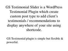 WordPress Testimonial Plugin | GS Testimonial Slider