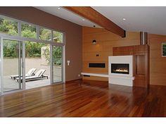 Ashton Kutcher Gorgeous House Design – Hollywood Hills Home - Home Design and Home Interior Wooden Flooring, Wooden Walls, Beautiful Houses Interior, Beautiful Homes, Hollywood Hills Homes, White Fireplace, Ashton Kutcher, Empty Room, First Home