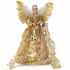"""Santa's Workshop 16"""" Shimmering Gold Angel Tree Topper"""