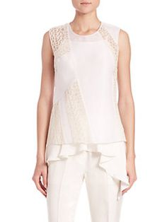 3.1 Phillip Lim - Paneled Crossback Two-Piece Silk Tank Top