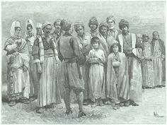 Engraving: Kurds of Kurdistan. Style Realism, 1899.
