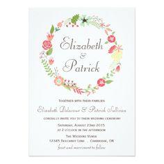 Shabby Chic Floral Wreath Wedding Invitation