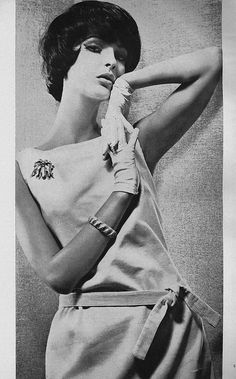 August Vogue 1961 - damn, I never would have thought of thin-wale corduroy as a dress fabric, but it's done so well here!