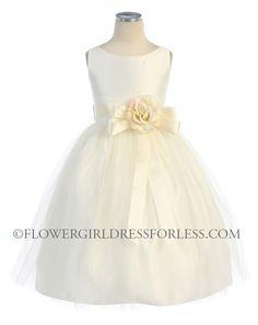 MJ   SK_402IV - Girls Dress Style 402- Sleeveless Satin and Tulle Dress - Ivory - Flower Girl Dress For Less
