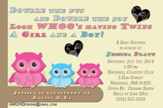 Cute Owl Baby Shower Personalized Invitations by GMCHDesigns, $9.99