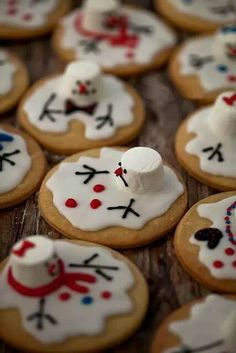 how sweet and easy looking! just make regular sugar cookies, add frosting marshmallows then decorate!