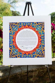 Red yellow and blue ketubah // Found on Modern Jewish Wedding Blog // Photographer: Traci J. Brooks Studios