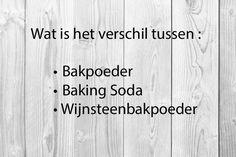 Wat is het verschil tussen Bakpoeder, Baking soda en Wijnsteenbakpoeder, wanneer gebruik je het en hoe maak je zelf bakpoeder