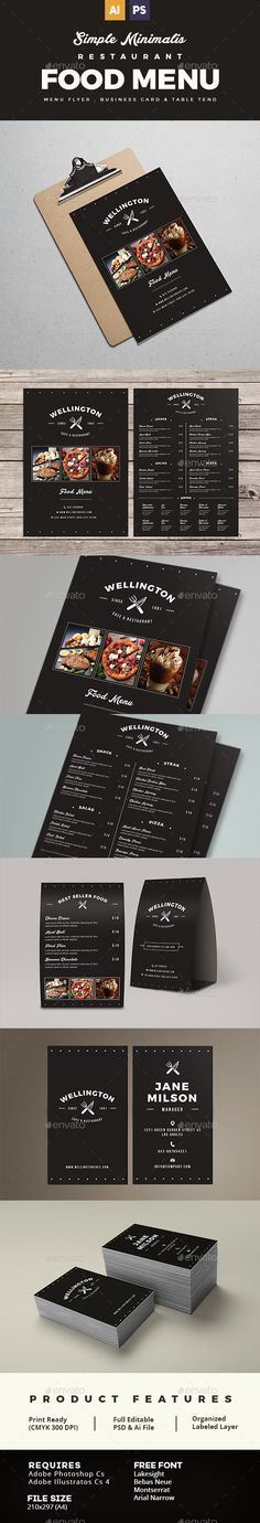 Simple Minimalist Restaurant Food Menu Package #restaurant #restaurant Business card #restaurant menu • Available here → http://graphicriver.net/item/simple-minimalist-restaurant-food-menu-package/15595768?ref=pxcr