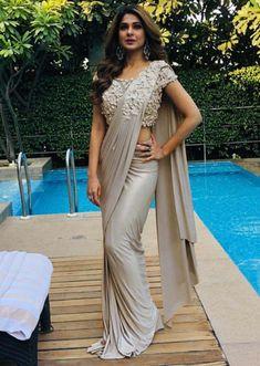 Jennifer Winget in Kalki grey draped lycra saree Saree Designs Party Wear, Party Wear Sarees, Saree Blouse Designs, Indian Fashion Dresses, Dress Indian Style, Indian Designer Outfits, Indian Outfits, Saris, Sari Bluse