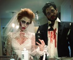 Hallowen Costume Couples Zombie bride and groom, Halloween. Hopefully Ryan and I will look this good next week Halloween Bride, Halloween Looks, Scary Halloween, Halloween Themes, Halloween Makeup, Halloween Party, Gothic Halloween, Hallowen Costume, Scary Costumes