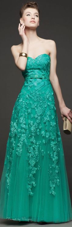 Rosa Clará ~ Spring Strapless Gown, Green 2015