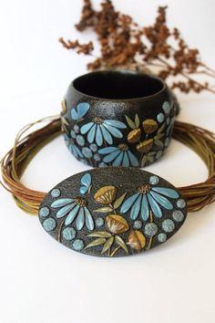 Polymer clay set bracelet pendant Bracelet  от WildOnionArt