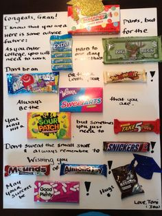 24 Best Ideas For Birthday Surprise Gift Candy Bars Candy Bar Poems, Candy Bar Cards, Candy Signs, Candy Poster Board, Candy Board, Graduation Celebration, Graduation Cards, Graduation Images, Graduation Gifts