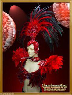 Charismatico RED Drag Queen SAMBA RIO CARNIVAL Feather Headdress+shoulder piece #Charismatico