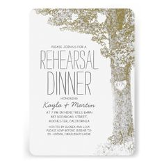 Rustic love heart tree rehearsal dinner invite