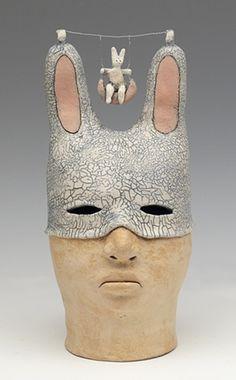 clay ceramic sculpture animal by sara swink rabbit swing