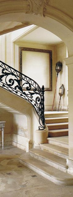 Chateau Outrelaise stone and iron staircase. The New Eighteenth Century Style. Lalande & Trillard