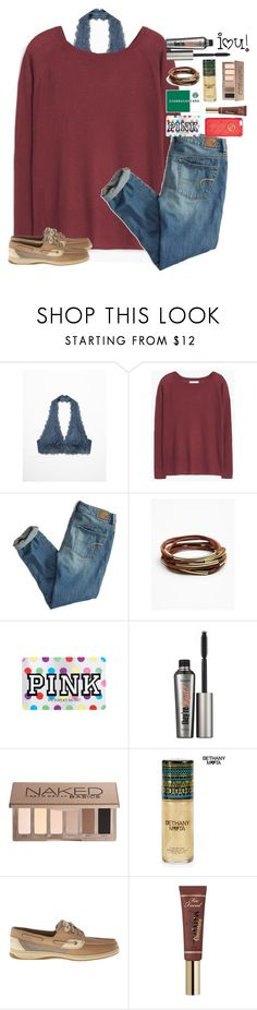 """day two!"" by shannaolo ❤ liked on Polyvore featuring Free People, MANGO, American Eagle Outfitters, Victoria's Secret, Benefit, Urban Decay, Aéropostale, Sperry Top-Sider, Too Faced Cosmetics and GUESS"