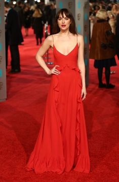 The Best Looks from the BAFTA Awards 2016 - Dior Dress - Ideas of Dior Dress - Dakota Johnson steps out in a red Dior gown. See all the best red carpet looks from the 2016 BAFTAS here: Celebrity Red Carpet, Celebrity Dresses, Celebrity Style, Looks Kim Kardashian, Dior Gown, Dakota Johnson Style, Red Carpet Looks, Looks Style, Red Carpet Fashion