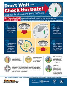 October is Fire Prevention Week. Check out the U. Fire Administration's infographic on smoke alarm safety tips. Fire Prevention Month, Injury Prevention, Home Safety Tips, Safety Message, Firefighter Gifts, Smoke Alarms, Fire Safety, Dating Apps, Funny Dating Quotes