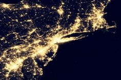 Birds eye view of NYC tri-state (Long Island, Conn, NJ), Boston and Philadelphia megapolis region. We are electricity hogs for sure....