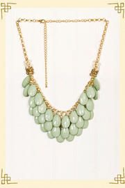 Teardrop Necklace in Green  Though this is cute I am beyond done with mint and green this year...it is way past it's season