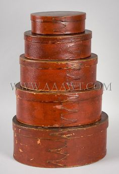 GRADUATED & RED PAINTED  OVAL FORM SHAKER BOXES  NORTHEASTERN SHAKER COMMUNITY  19TH CENTURY
