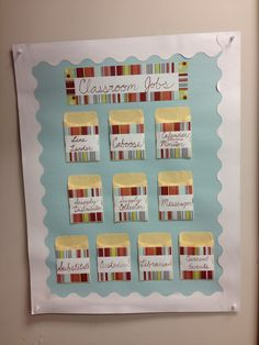 DIY Classroom Jobs Chart: posterboard, desk name cards, and library card pockets. Write students' names on index cards and stick them in each pocket.