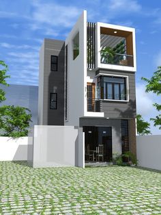✔ 11 Modern House Design with Unique and Remarkable Design - homemisuwur House Front Design, Small House Design, Modern House Design, Facade Design, Exterior Design, Indian House Plans, Zen House, Narrow House, House Elevation