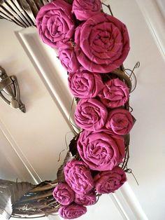 Fabric Rosette Grapevine Wreath by DesignedbyDawnNicole, via Flickr