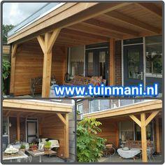 Een maatwerk veranda - overkapping, is een van de specialiteiten van tuinmani. Deze terrasoverkapping is gemaakt van lariks en het dak is bedekt met EPDM folie. Ook verkrijgbaar in geïmpregneerd hout .  Geplaatst door en verkrijgbaar bij @Tuinmani #tuinmani www.tuinmani.nl