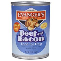 Evanger's Beef & Bacon is Grain-Free and Gluten-Free, and makes a great complement to our Super Premium dry foods, or can be balanced with Evanger's canned Vegetarian Dinner.