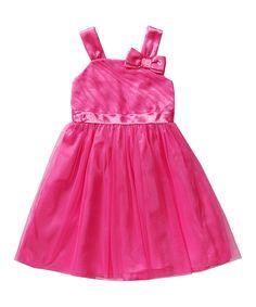 Loving this Emily West Pink Glitter Mesh Bow Dress - Girls on #zulily! #zulilyfinds
