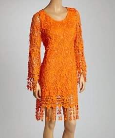 Loving this Orange Floral Fringe Scoop Neck Dress on #zulily! #zulilyfinds