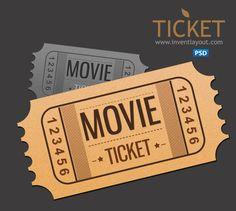 Movie Ticket Template Free Download Vintage Movie Ticket Vector Set  カミモノ  Pinterest  Movie .