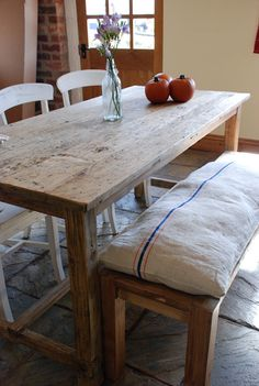 Dine in style with this beautiful, rustic refectory dining table made from reclaimed wood by Mobius Living on Folksy