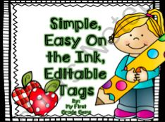 Editable, Simple Name Tags from My First Grade Gems on TeachersNotebook.com -  (8 pages)  - A simple, editable name tag that will be easy on the ink and can last all year! Enjoy!