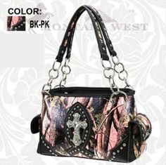 Rhinestone Cross & pink camo purse