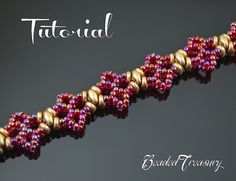 Mademoiselle - beaded lace bracelet tutorial, superduo bead pattern, seed beads…