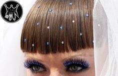 fake eyelashes and hair jewels